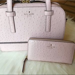 Kate Spade pink ostrich wallet Pink
